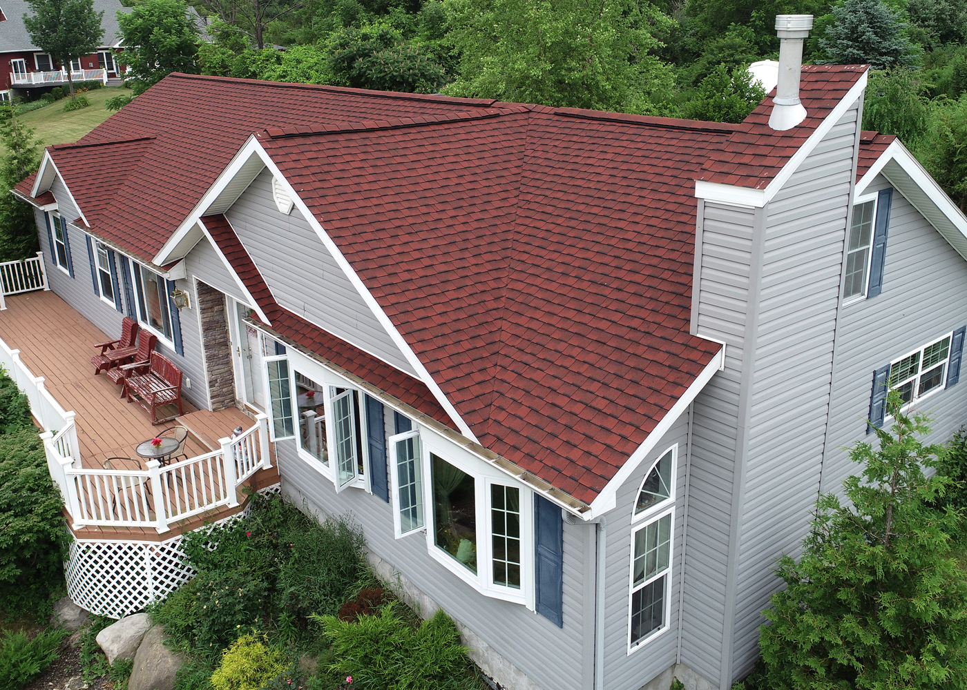 GAF patriot red shingles, syracuse roofing, red shingles